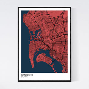 San Diego City Map Print