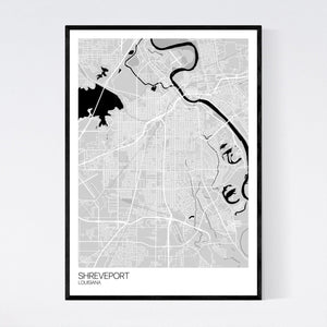 Shreveport City Map Print