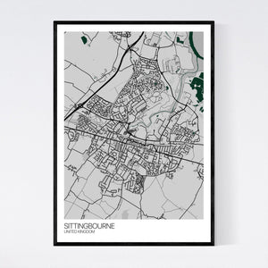 Sittingbourne City Map Print