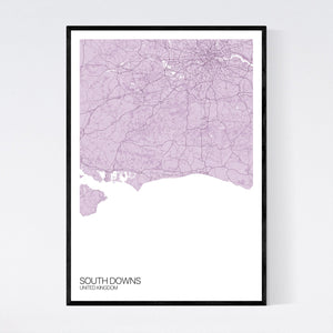 South Downs Region Map Print