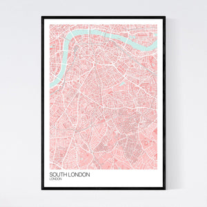 South London Neighbourhood Map Print