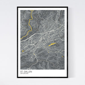 St. Gallen City Map Print