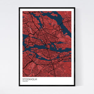 Stockholm City Map Print
