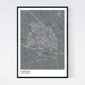 Swindon City Map Print