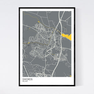 Swords City Map Print