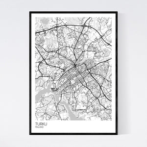 Turku City Map Print