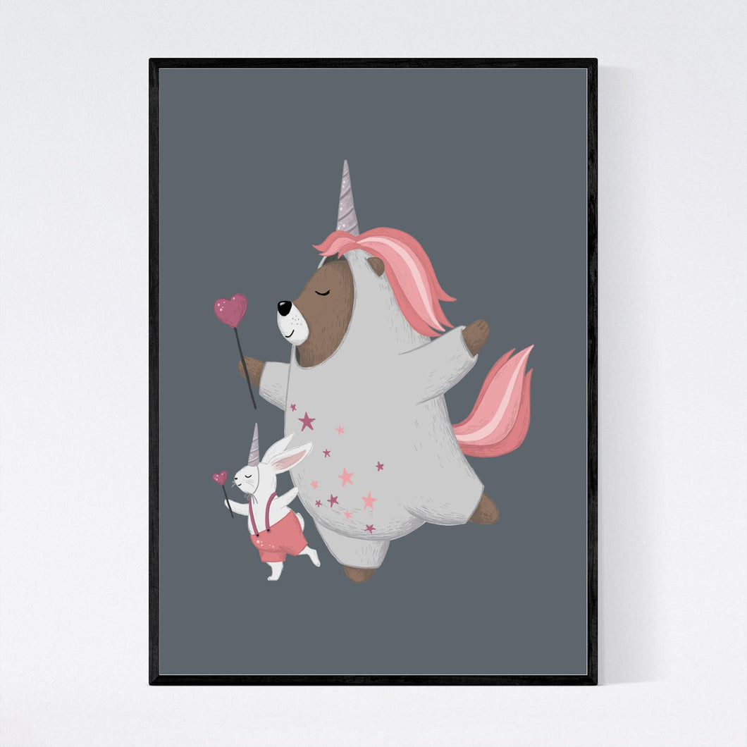Dancing Bear and Rabbit Unicorns Print
