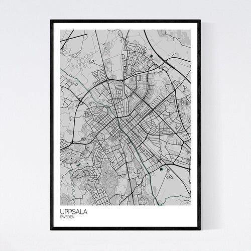 Uppsala City Map Print