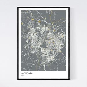 Vadodara City Map Print
