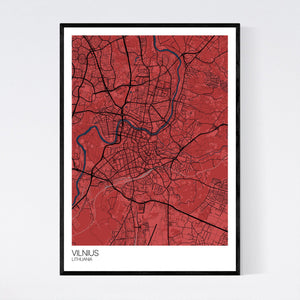 Map of Vilnius, Lithuania