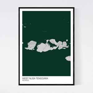 West Nusa Tenggara Region Map Print