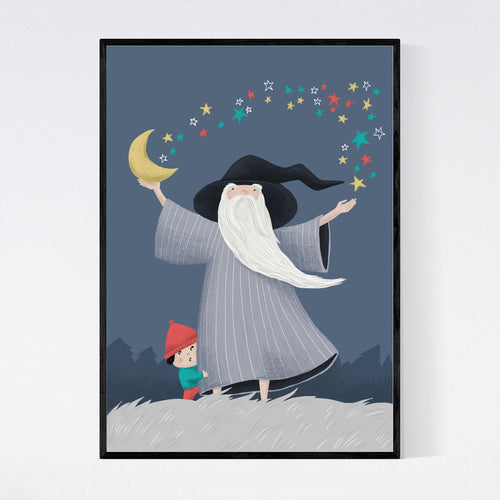Wizard, Moon and Stars Print