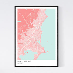 Wollongong City Map Print