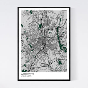 Worcester City Map Print