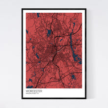 Load image into Gallery viewer, Worcester City Map Print