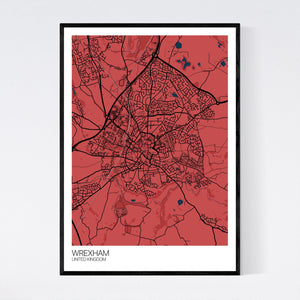 Wrexham City Map Print