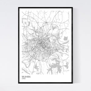 Wuhan City Map Print