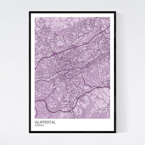 Map of Wuppertal, Germany