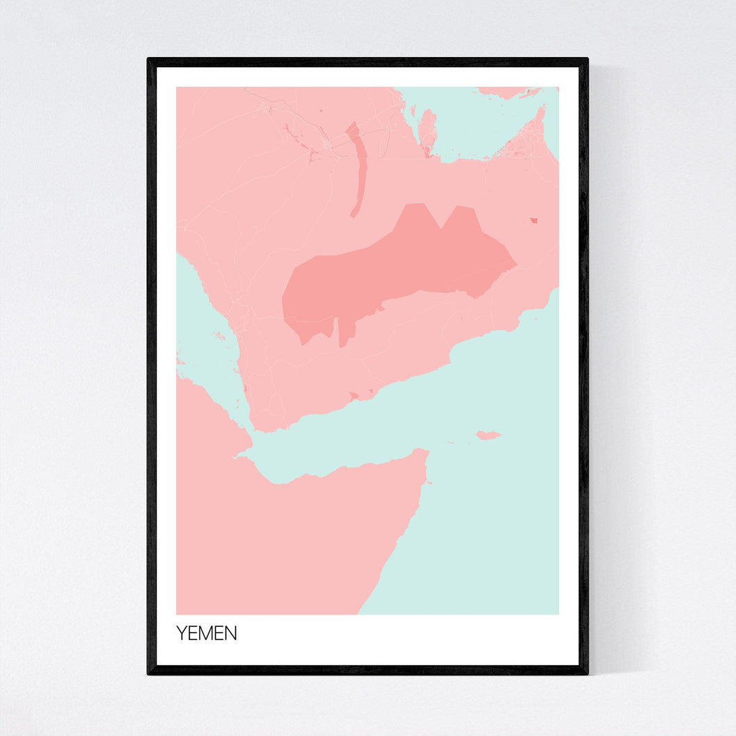 Yemen Country Map Print