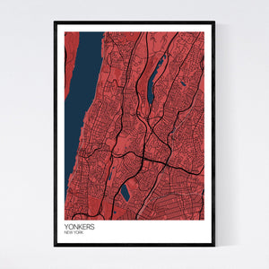 Yonkers City Map Print