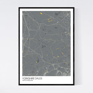 Yorkshire Dales Region Map Print