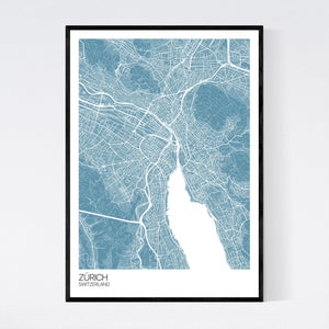Zürich City Map Print