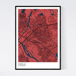 Zwolle City Map Print