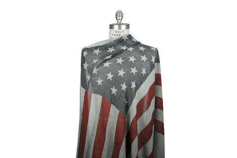 ˈw ə r k r o͝ o m by JEFFREY MARK-American Flag Scarf (Tea Stained)