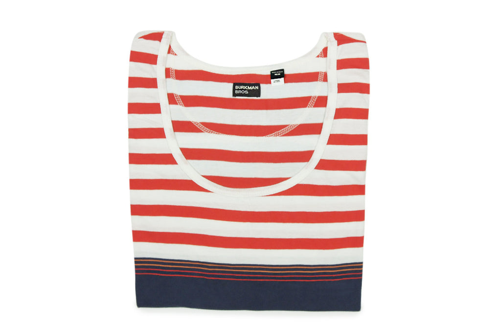 BURKMAN BROS-Striped Tank Top (Orange/Blue)