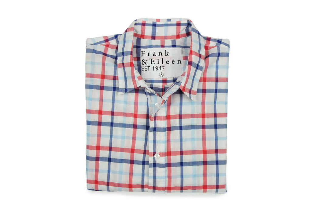 FRANK & EILEEN-White, Red, Blue Multi Check (Model Paul)