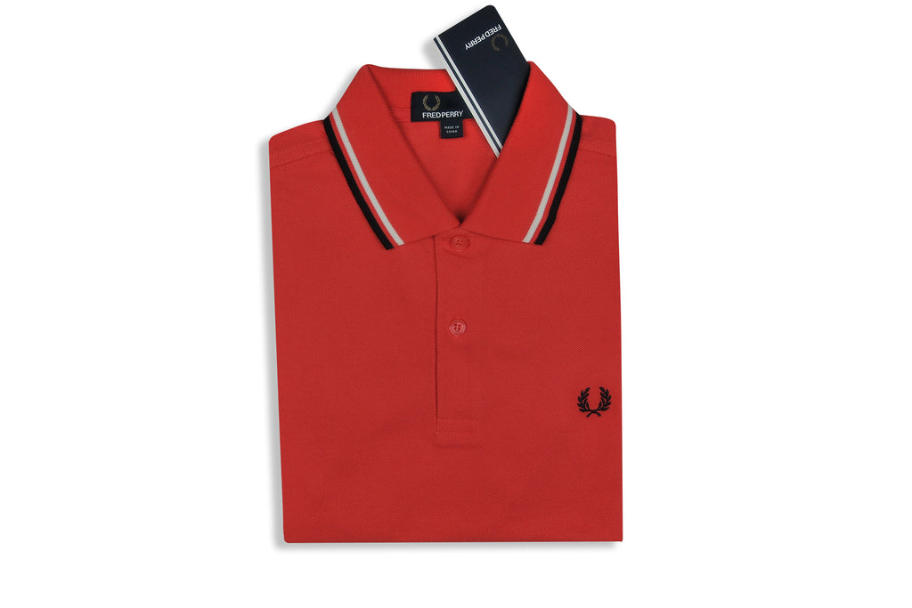 FRED PERRY-M3600 Twin Tipped Polo (Coral/White/Navy)