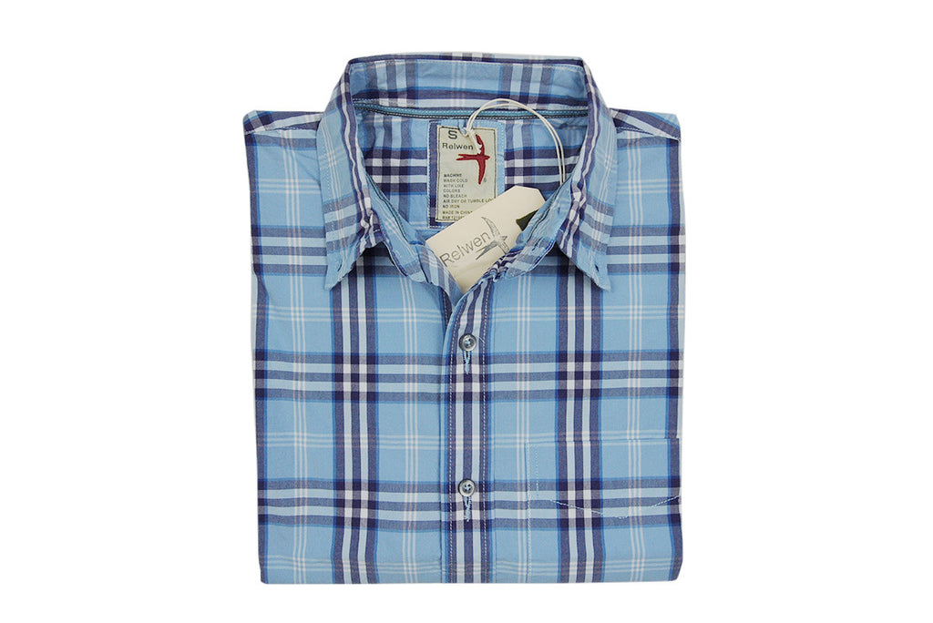 RELWEN-Half Sleeve Camp Shirt (Blue/Purple Plaid)