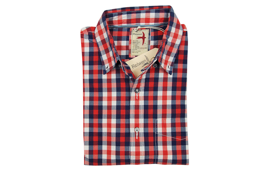RELWEN-Half Sleeve Camp Shirt (Red/Navy Gingham)