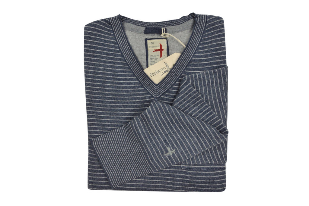 RELWEN-Plaited V-Neck Sweater (Navy Heather)