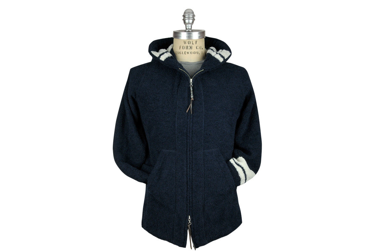 REMI RELIEF-Poly Knit Parka Hoodie (Navy)