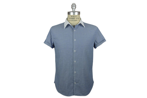 SAVE KHAKI-S/S Color Block Simple Shirt (Blue w/ White Collar)