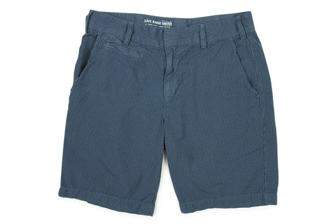 SAVE KHAKI-Gingham Bermuda Shorts (Good Blue)