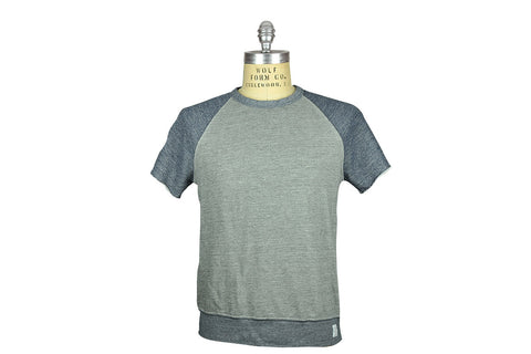 SAVE KHAKI-S/S French Terry Sweatshirt (Heather + Navy)