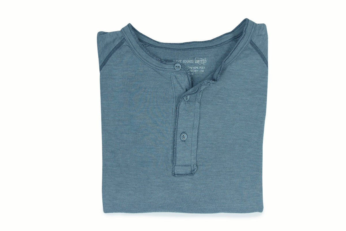 SAVE KHAKI-Pointelle Henley (Good Blue)