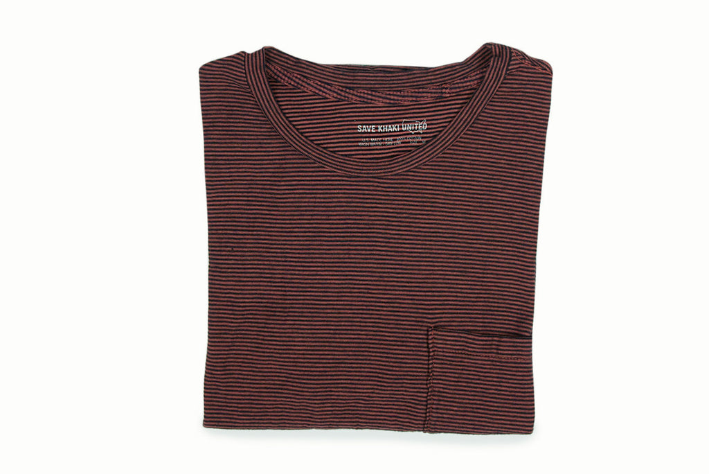 SAVE KHAKI-S/S Stripe Pocket Tee (Brick/Navy)