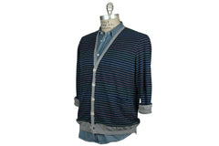 V: : Room-Long Loop Border Cardigan (Navy)