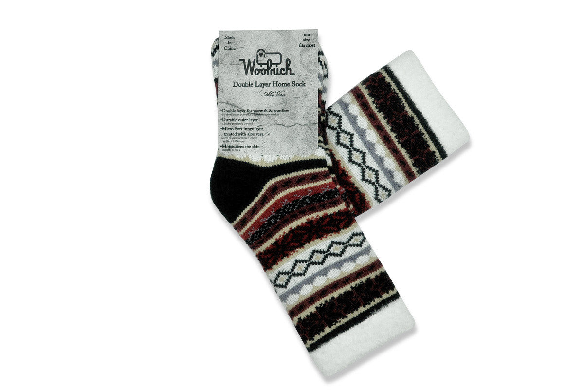 WOOLRICH HOME-Double Layer Aloe Sock (Black/Red/White Fairisle)