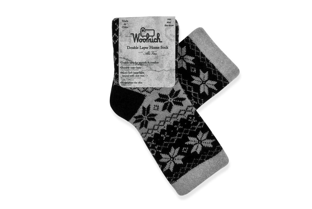 WOOLRICH HOME-Double Layer Aloe Sock (Black/Grey Snowflake)
