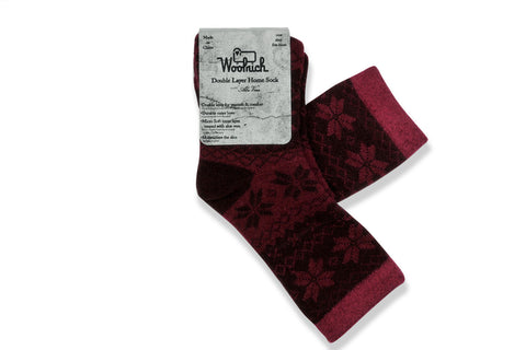 WOOLRICH HOME-Double Layer Aloe Sock (Wildberry Snowflake)