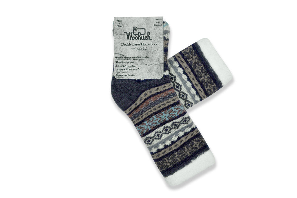 WOOLRICH HOME-Double Layer Aloe Sock (Wine/Indigo/White Fairisle)