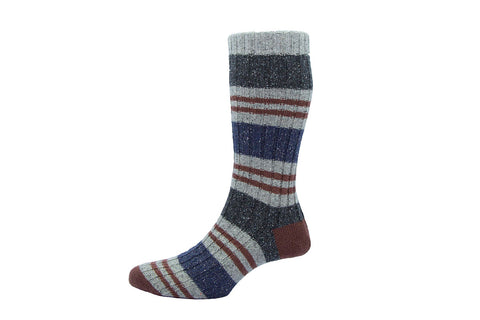 SCOTT NICHOL SOCKS-The Ilkley Stripe (Granite Multi)