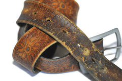 Vintage Embossed Floral Belt (Tobacco)