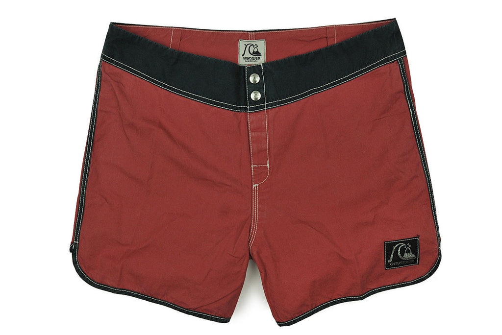 "QUICKSILVER ORIGINALS-15"" Scallop Board Shorts (Garnet w/ Navy)"