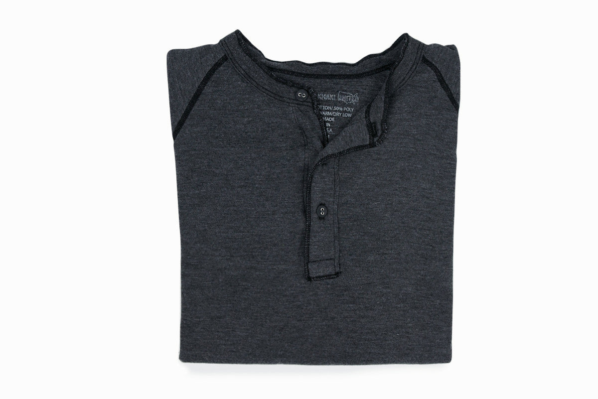 SAVE KHAKI-Pointelle Henley (Charcoal)