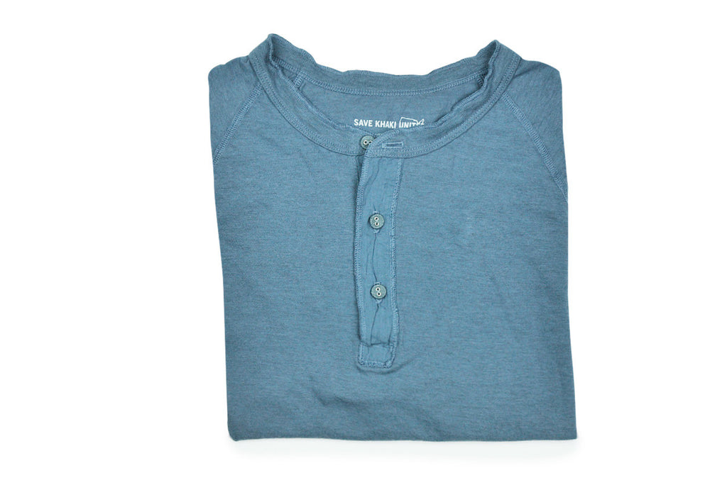 SAVE KHAKI-S/S Heather Jersey Henley (Good Blue Heather)